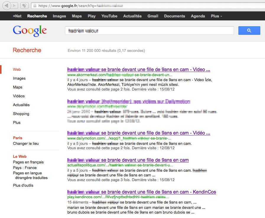 Résultats Google suite à la diffusion d'une vidéo captée lors d'une escroquerie à la webcam