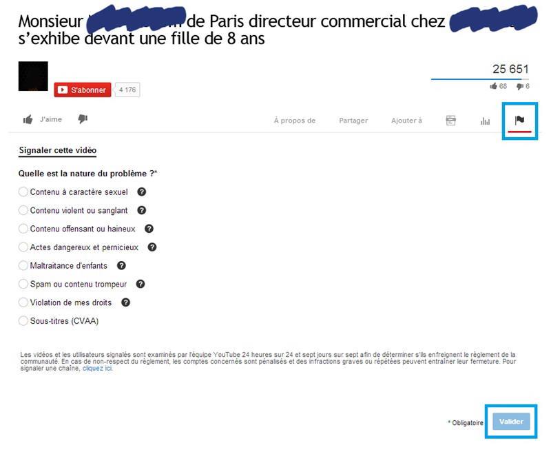 Signaler et supprimer la vidéo d'une arnaque à la cam sur Youtube